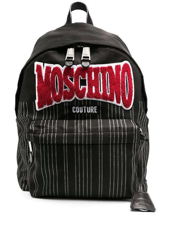 Logo Patch Striped Backpack