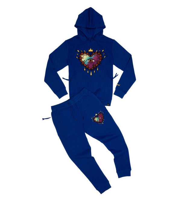 Civilized Gradient Heart Hoodie Set (Royal)