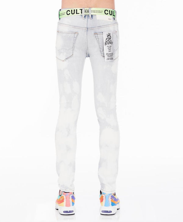 Cult Of Individuality Belted Bleach Skinny Jeans