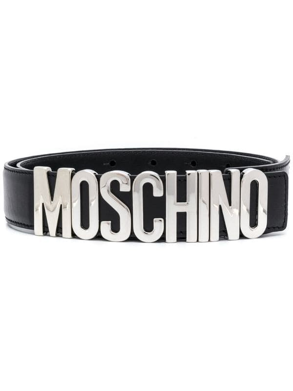 Moschino Couture Leather Logo Belt (Silver/Black)