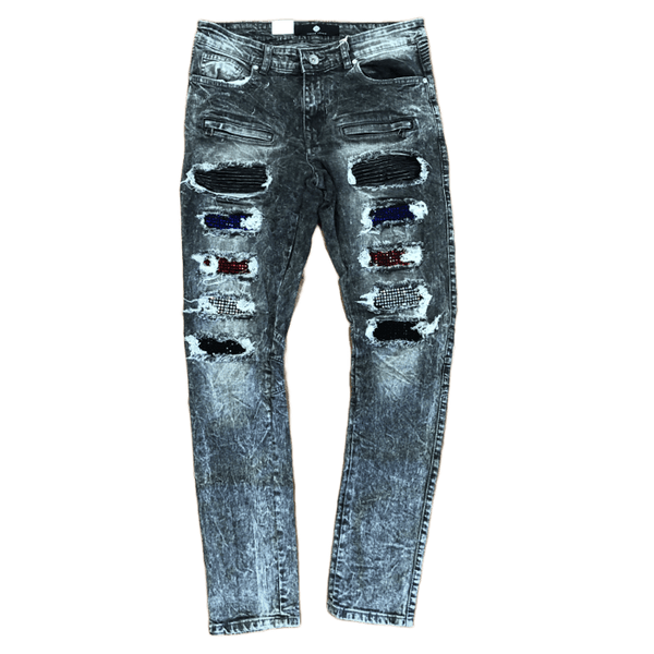 Focus Multi Patch Jeans (Grey)