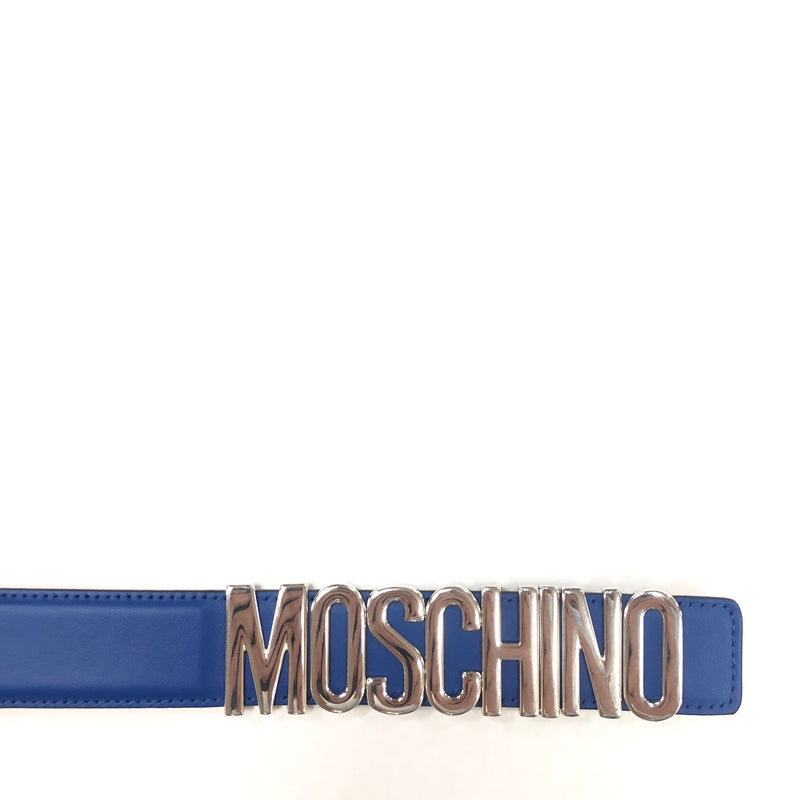 Moschino Couture Calf Logo Belt (Blue)