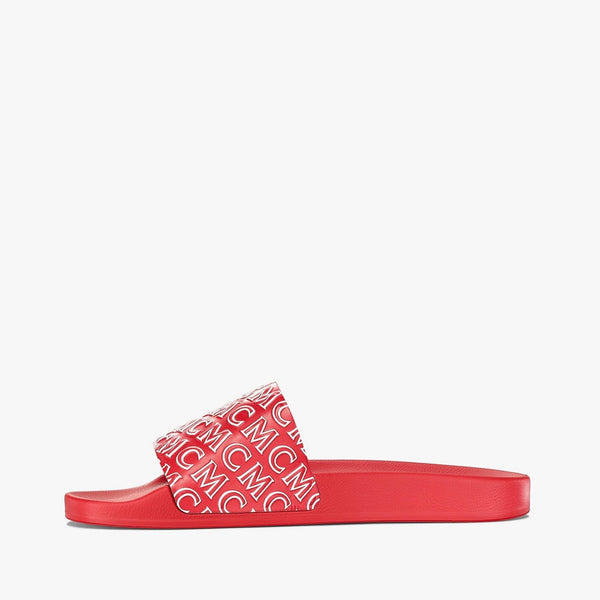 MCM Men's Diagonal Monogram Print Rubber Slides (Chinese Red)