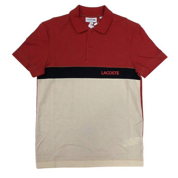 Lacoste Tri Color Polo (Orange Red/Navy/Beige)