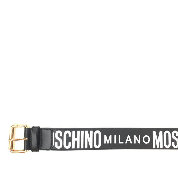 Calfskin Belt With Logo (Black/White)