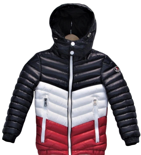 Tri Color Kids Bubble Jacket (Navy/White/Red)