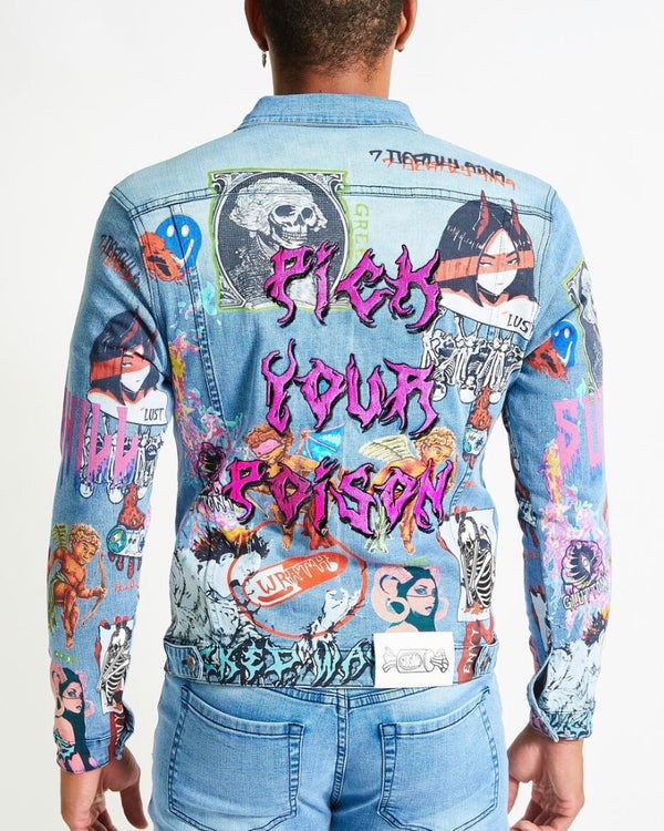SugarHill 7 Sins Light Wash Denim Jacket