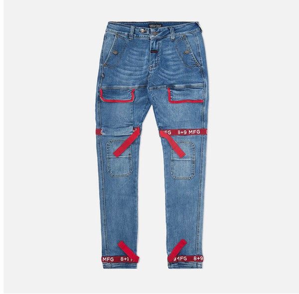 8&9 Strapped Up Utility Denim (Blue/Red)