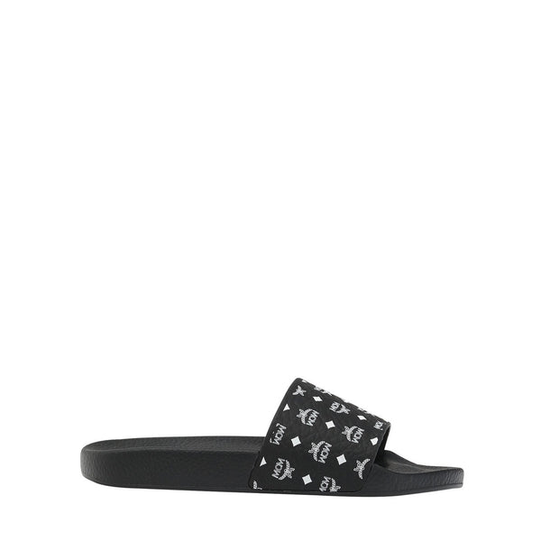 MCM Women's Monogram Print Rubber Slides (Black)