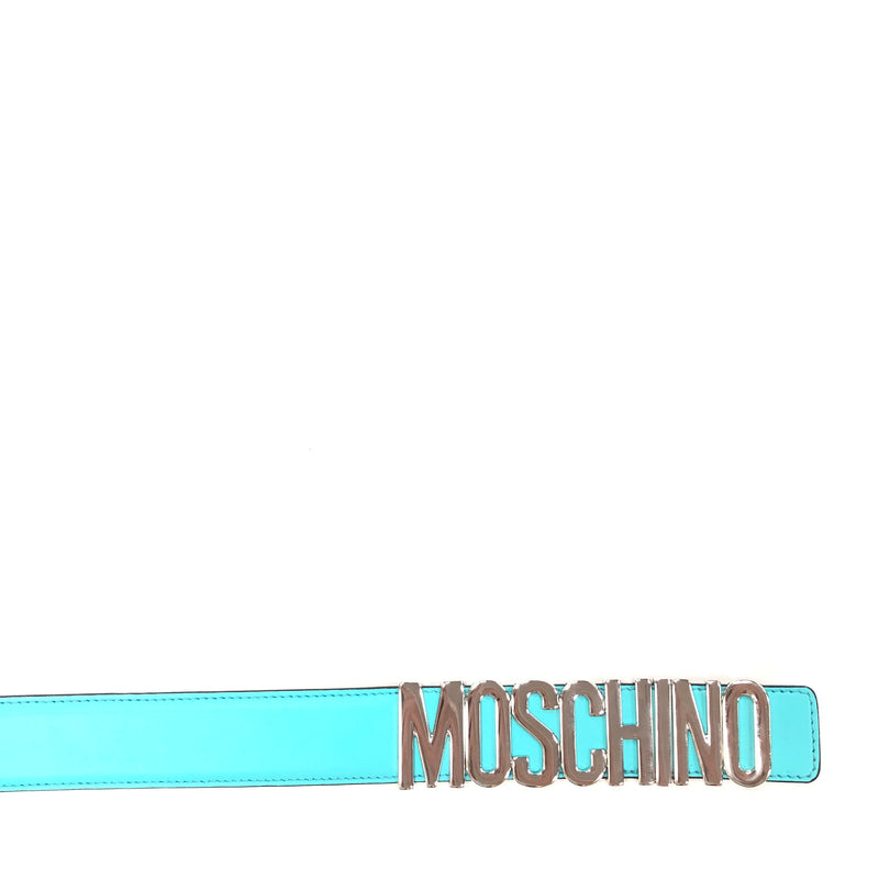 Belt In Leather With Logo (Turquoise)