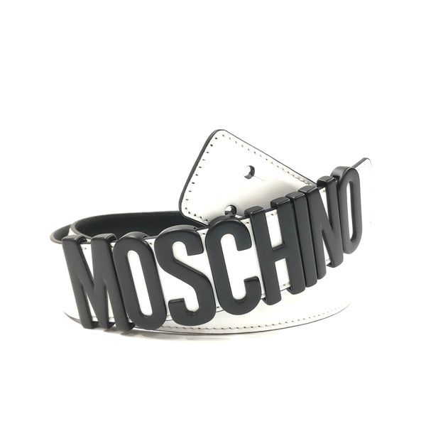 Belt In Leather With Logo (Black/White)