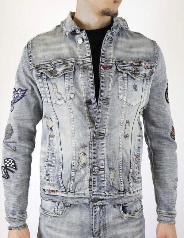 Industrial Race Track Crystal Denim Jacket