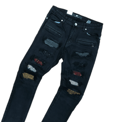 Focus Multi Patch Jeans (Black)