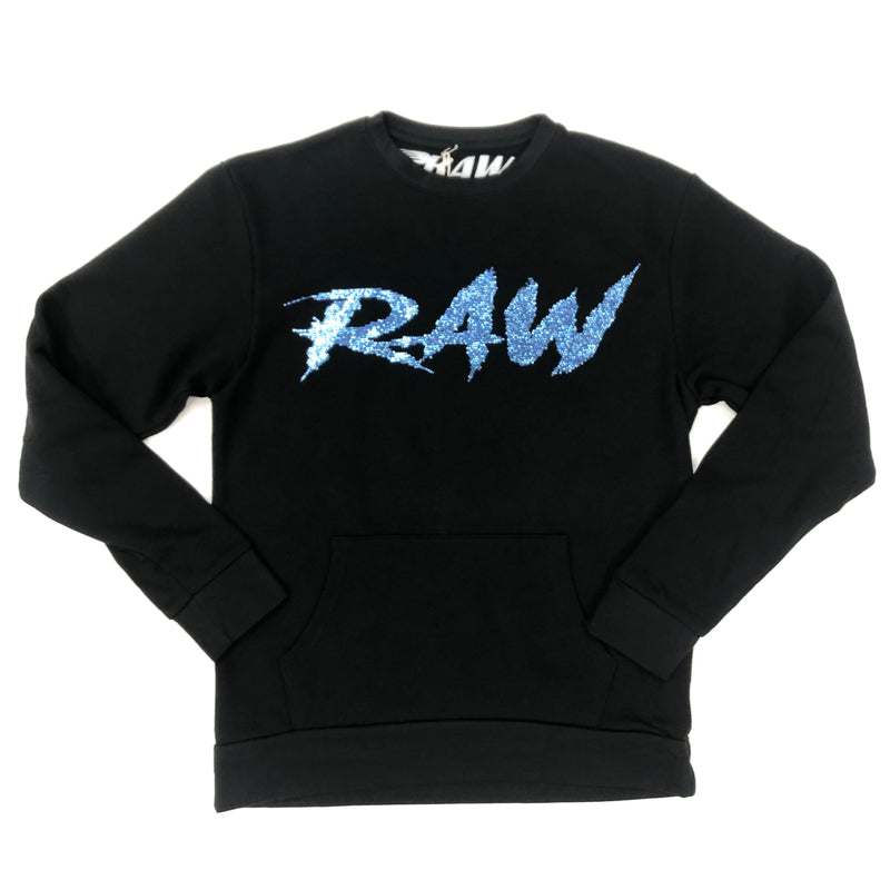 Raw Blue Script Crystal Sweater