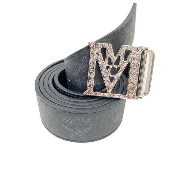MCM Mena Reversible Belt Silver Buckle (Black)