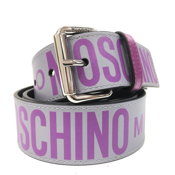 Calfskin Belt With Logo (Grey/Purple)