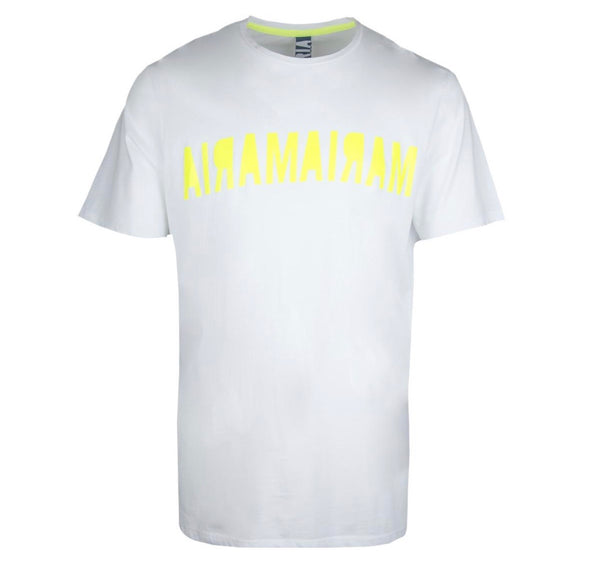 Maria-Double Inverse Tee (White/Yellow Neon)