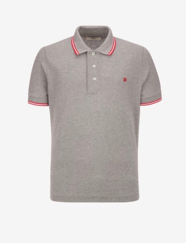Bally Stripe Detail Polo Shirt (Grey/Red)