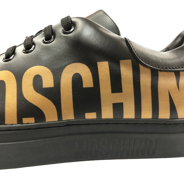 Leather Sneakers With Logo (Black/Gold)