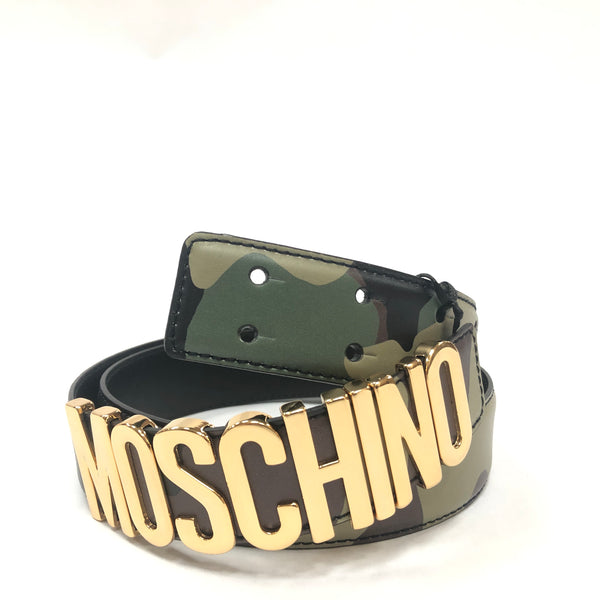 Moschino Couture Calf Logo Belt (Camo)