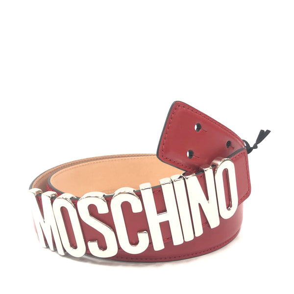 Moschino Couture Calf Logo Belt (Red)