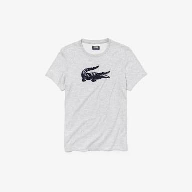 Lacoste Oversized Crocodile T-Shirt (Grey/Navy)