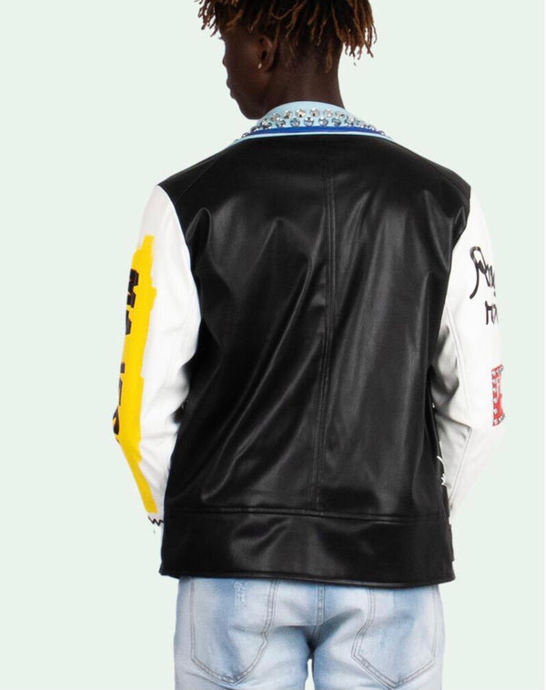 Majestik Leather Jacket (Blue/Black)
