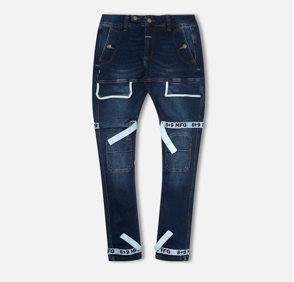 8&9 Strapped Up Utility Denim (Dark Blue/White)