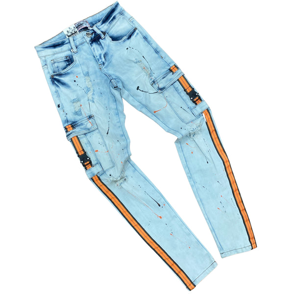 Denim City Orange Cargo Jeans