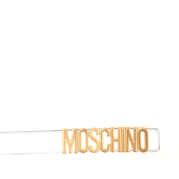 Belt In Leather With Logo (Gold/White)