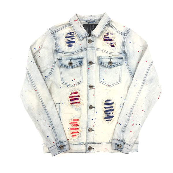 Denim City The Crystal Denim Jacket (Blue/Red)