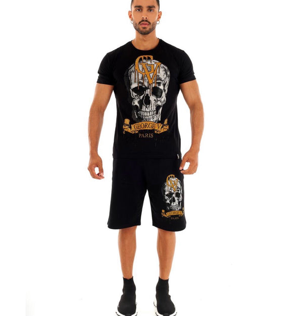 George Ave Drip Skull Short Set (Black/Gold)
