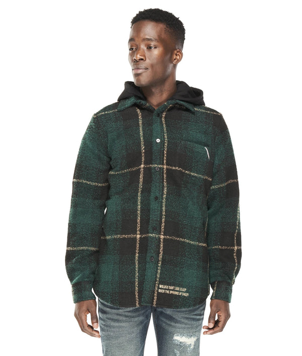 Cult Of Individuality Plaid Shirt/Jacket Forest Green