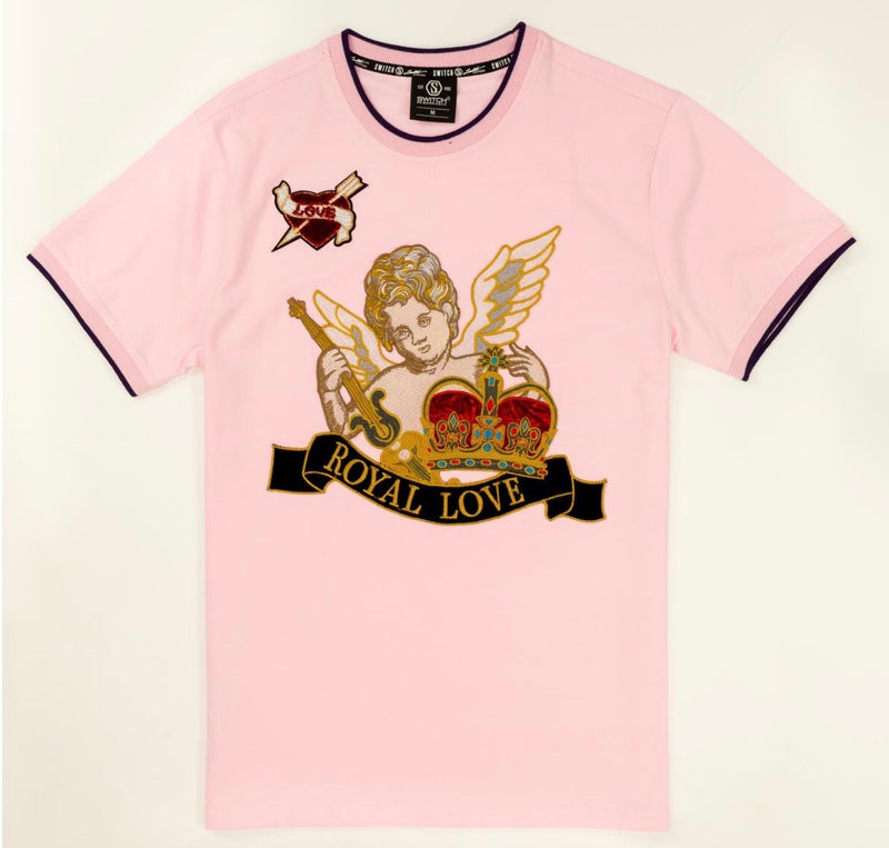 Switch-Angel Embroidery Patch Tee (Pink)