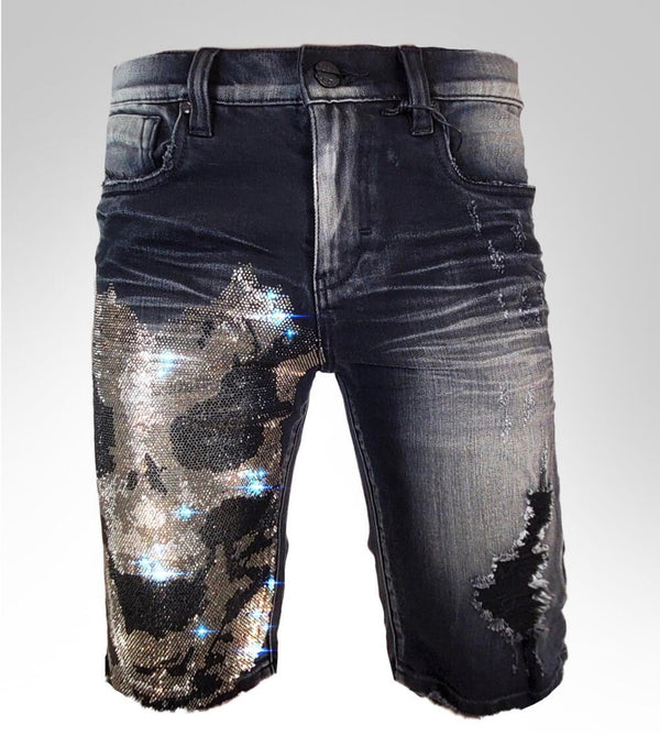 Industrial Dragon Skull Shorts (Black)