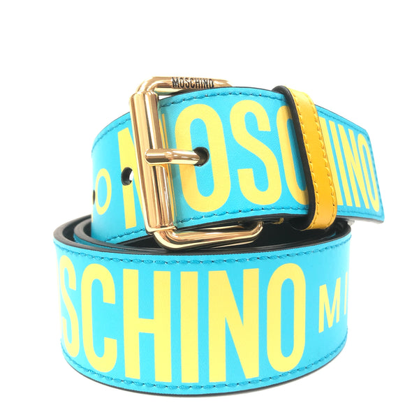Calfskin Belt With Logo (Turquoise/Yellow)