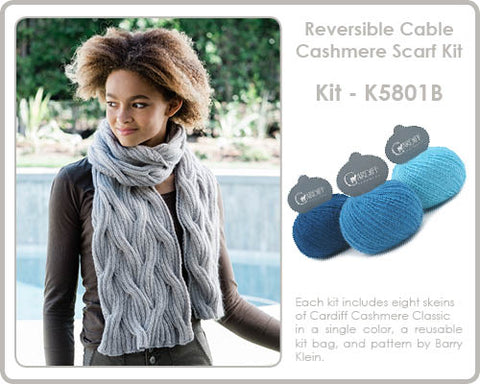 Reversible Cabled Cashmere Scarf