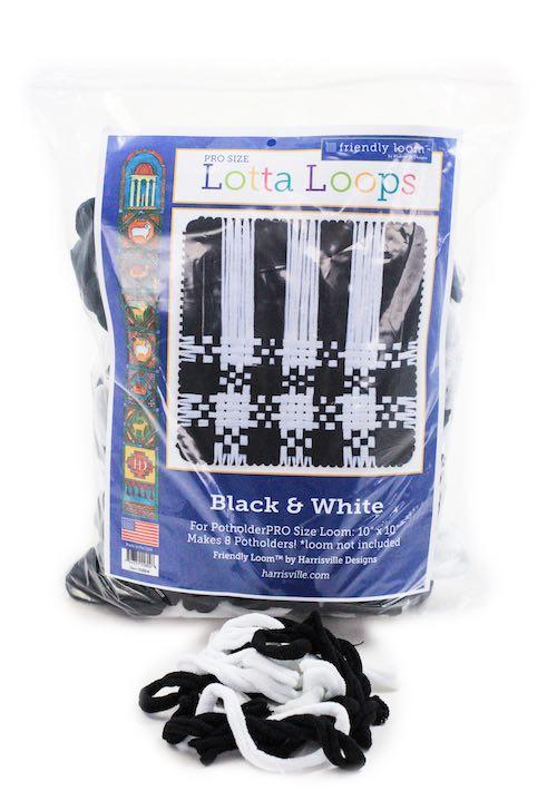 "Lotta Loops Bag of Loops Kit For 10"" Pro loom in Black and White: Harrisville Design"