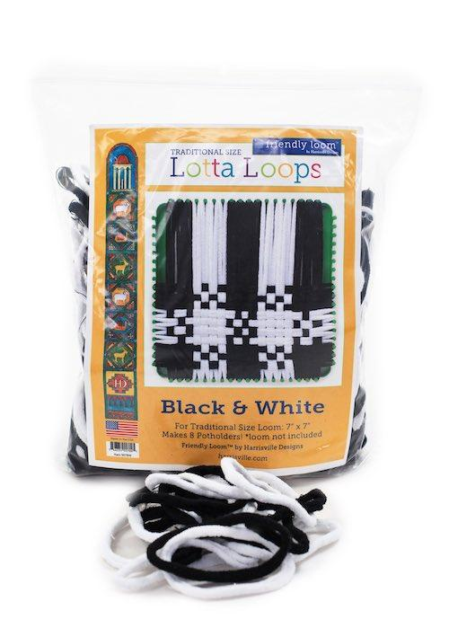 "Lotta Loops Bag of Loops Kit For traditional 8"" loom in Black and White: Harrisville Design"