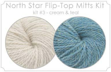 North Star Flip-Flop Mitts Kit   3 - Cream and Teal