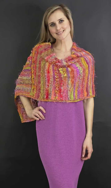 Textured Stripes Poncho - Carnivale