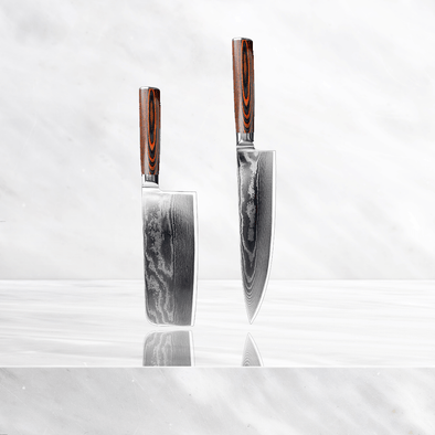 Minamoto Damascus Set - Chef and Cleaver