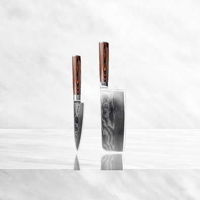 Minamoto Damascus Set - Cleaver and Utility
