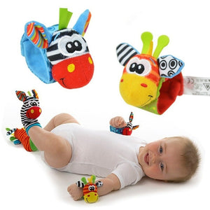 2pcs/Pair New Fashion Baby Infant Soft Toy Wrist Rattles/Sock Rattles