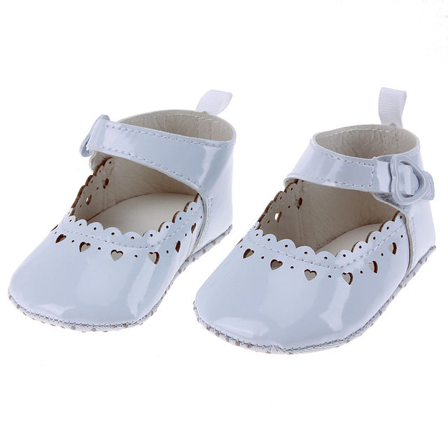 Girls Infant Anti-slip Shoe with heart shaped buckle and trim (assorted colors)