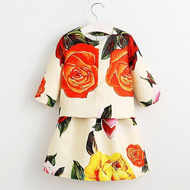 Girls/Toddlers Flower Jacket+Dress 2PCS Outfit