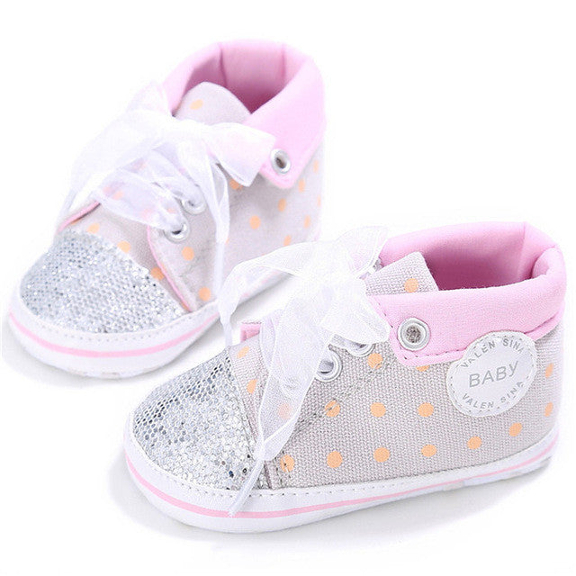 Children's Baby/Toddler anti-slip Sequins Canvas High Cut Lace-up Sneakers (Assorted colors)