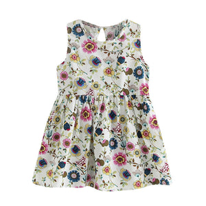 Girls Crew Neck Cotton Blend Princess Summer Dress