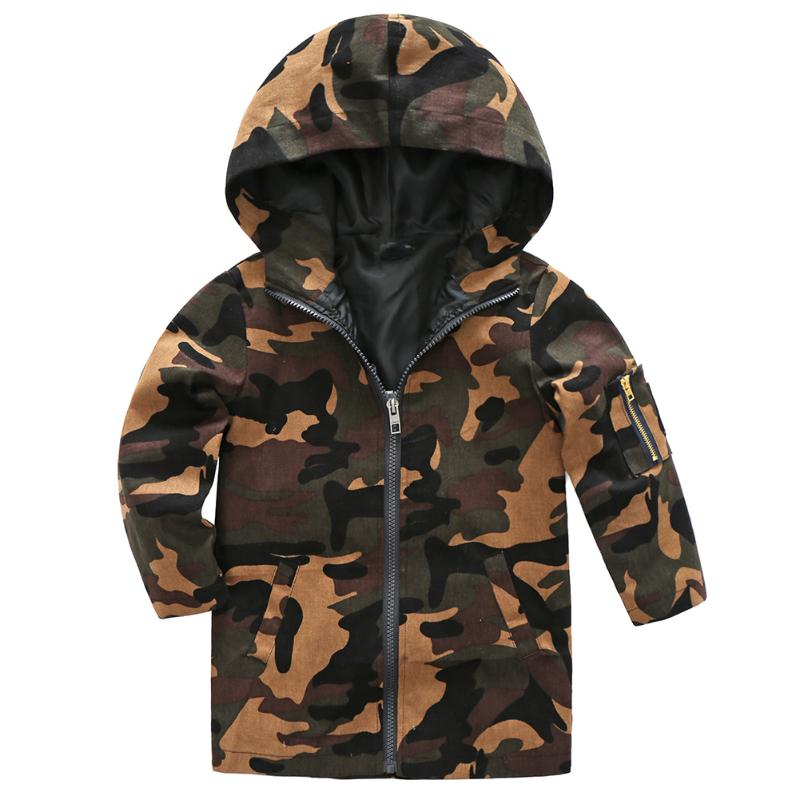 Boys Girls Camouflage Hooded Jacket