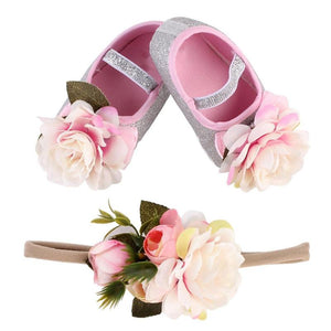 Girl Infant  2pcs Floral Anti-slip Soft  Shoes with Matching Hairband